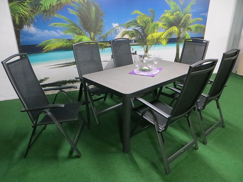 "7-teilige Luxus Aluminium Textilen Gartenmöbelgruppe ""Sao Paulo Campa"" anthrazit Spraystone kaufen"