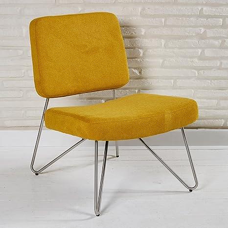 Knalliger Stuhl im Retro Look mit Stoffbezug fur Ihren Wohnbereich - Sitzmöbel Lounge Designer Sessel in orange