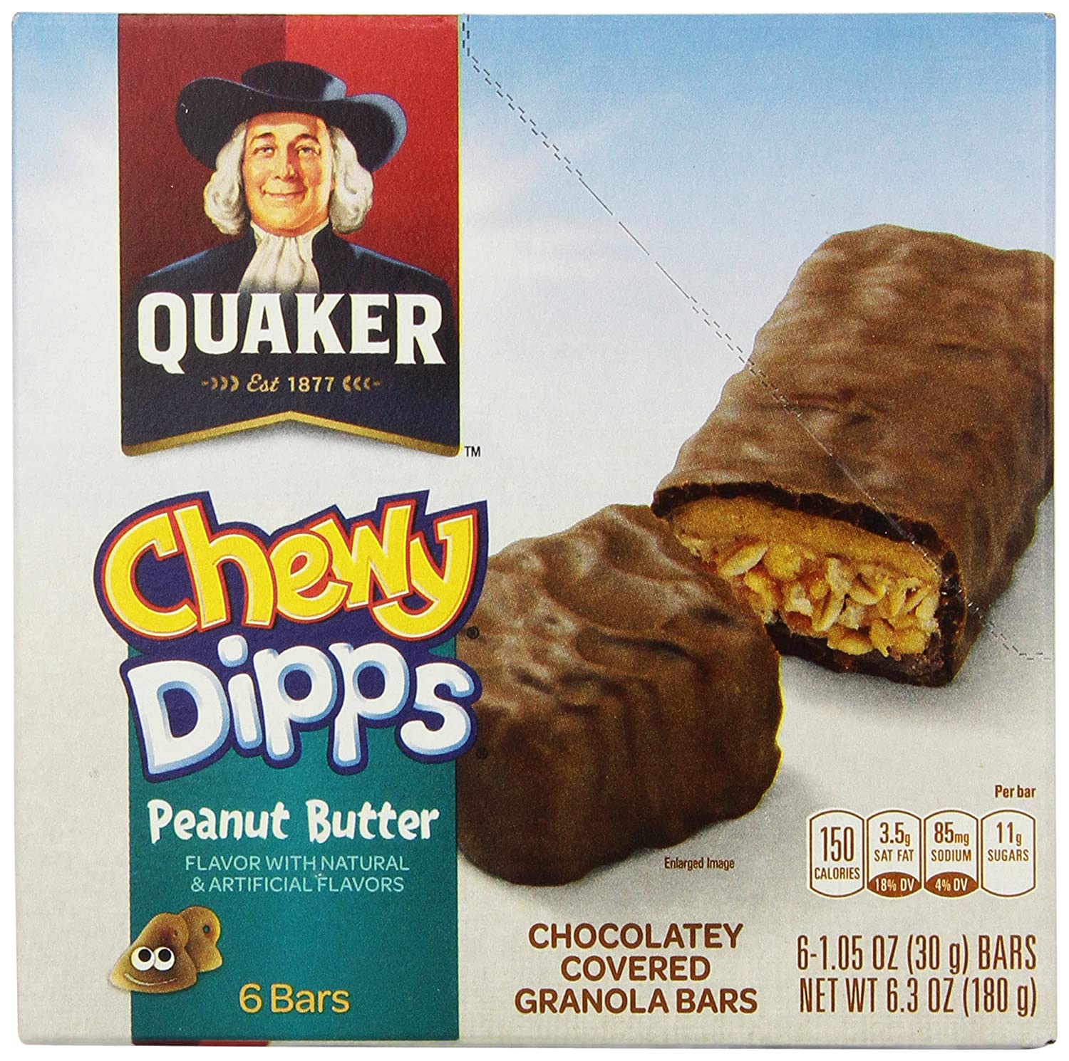 Quaker Peanut Butter Chewy Dipps Granola Bars,1.05 oz bars 6 Bars per Pack (Pack of 6)