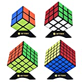 JoyTown Speed Cube Set of 4 Bundle Pack, 2x2 3x3 4x4 5x5 Puzzle Cube, Speedcubing with Bonus Four Stands and Screwdirver Black