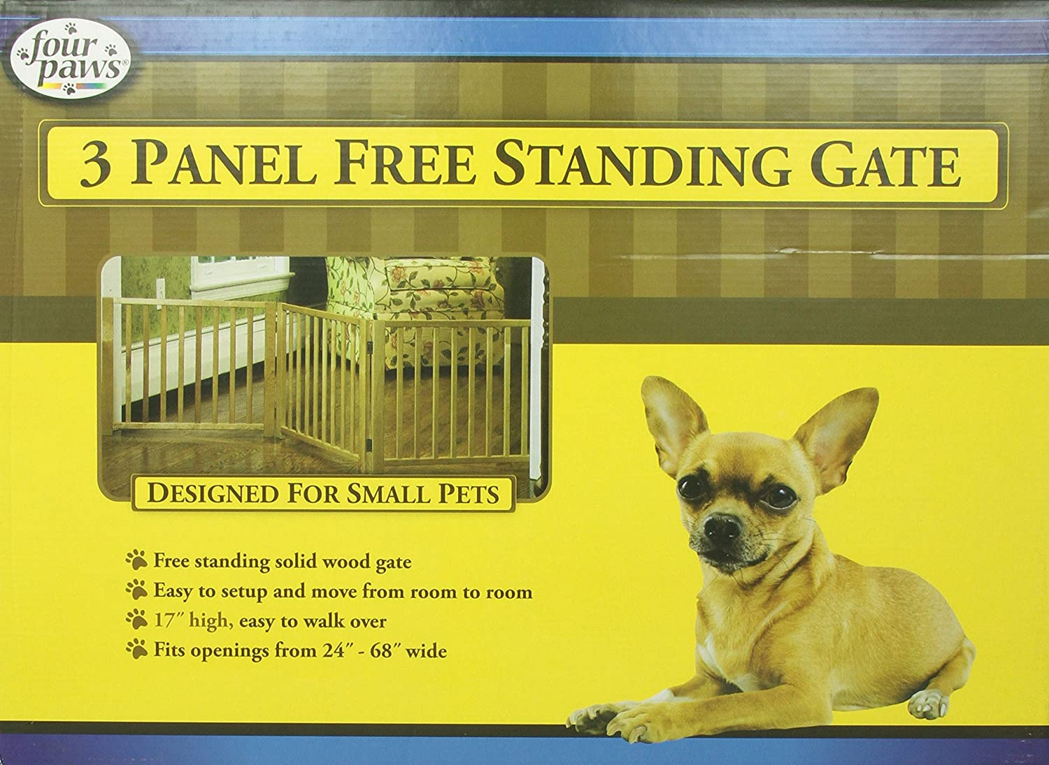 Four Paws 3 Panel Free Standing Walk Over Wooden Dog Gate