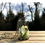 Clear Quartz Crystal Terrarium Necklace made with Glass Ball Bell Jar Pendant Birthstone Jewelry