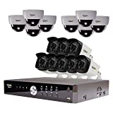 REVO America Aero HD 1080p 16 Ch. Video Security System with 16 Indoor/Outdoor Cameras, White/Black (RA161D8GB8G-4T) (Color: White/Black, Tamaño: 16-Channel 4TB)