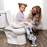 Potty Toilet Training Seat -Adjustable Ladder Baby Bathroom Training Chair Cover For Toilet With Step Stool & Handles-Foldable Kids Potty Trainer Seat For Boys & Girls- Easy Assembly & Discreet Design (Color: Grey and White)