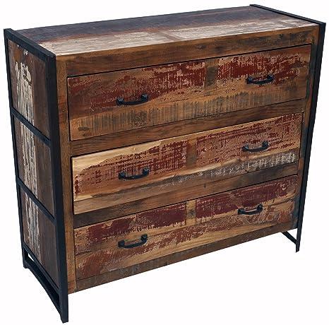 Vintage Kommode, Sideboard mit 3 Schubladen aus Metall und Recyclingholz / Kommoden, Sideboards & Fernsehtische