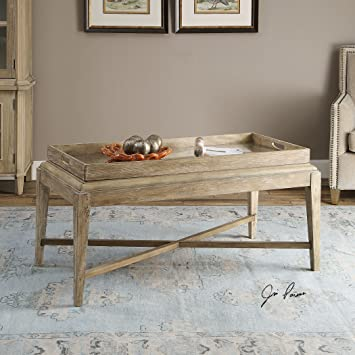 Cottage Weathered Wood Coffee Table | Removeable Tray Large