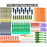 Soft Fishing Lures Kit,186pcs Fishing Baits Tackle Set Crawfish Senko Stick Paddle Tail Glitter Soft Lures Baits Earthworm Artificial Bait Worms Weedless Rig for Freshwater Saltwater Bass Trout (Color: 111pcs)