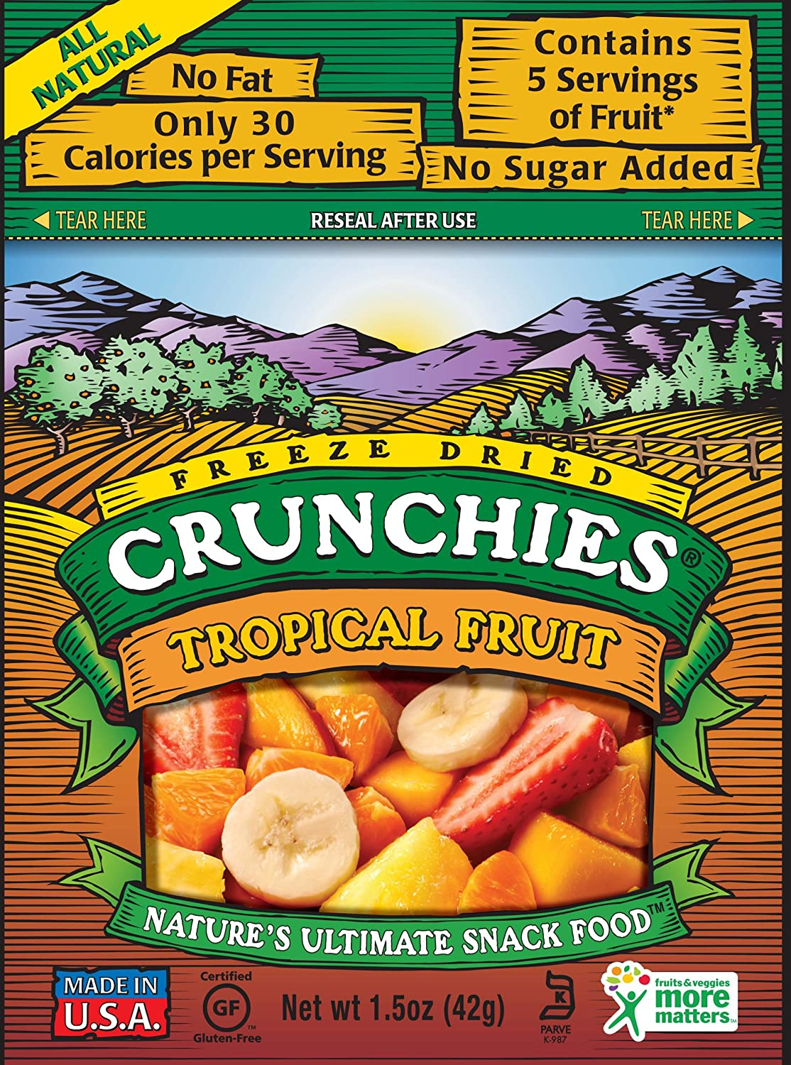 Crunchies Freeze-Dried Fruit Snack, Tropical Fruit, 1.5-Ounce Pouches (Pack of 6) at Sears.com