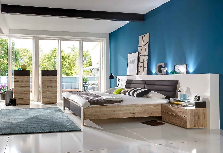 Schlafzimmer mit Bett 180 x 200 cm Eiche Sanremo/ lavafarbig günstig