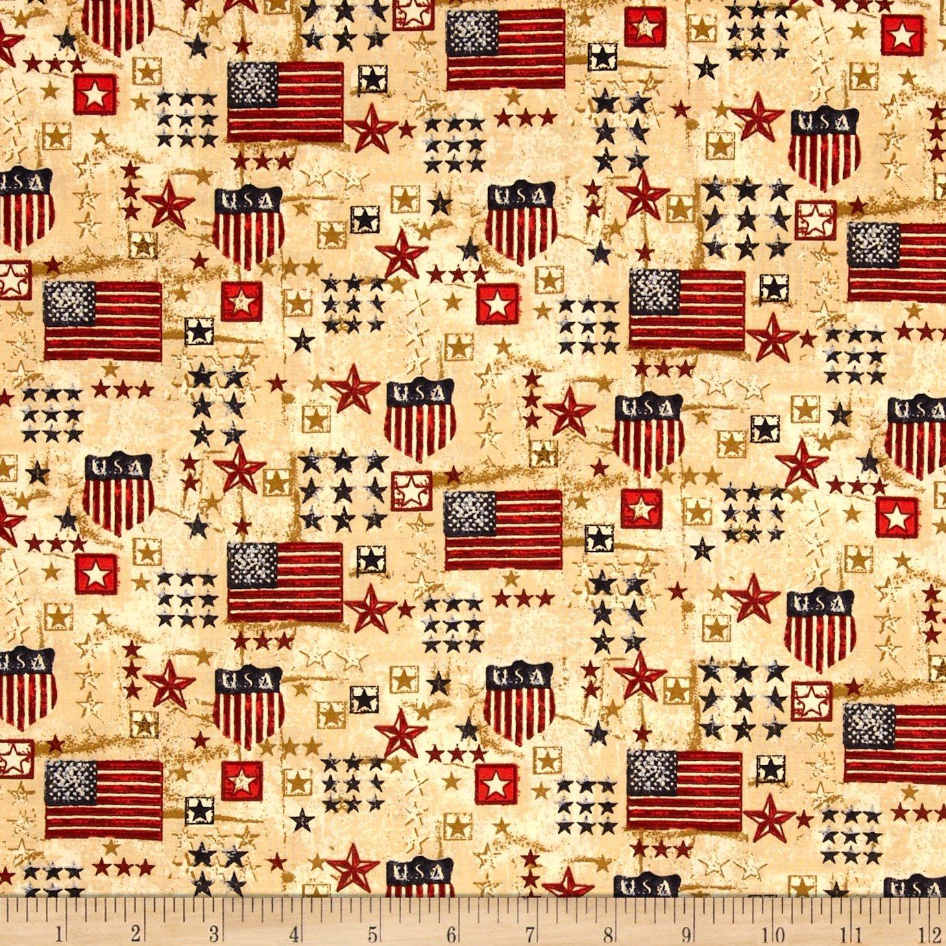 Stars & Stripes II USA Flags & Stars Red/Gold/Blue Fabric stars