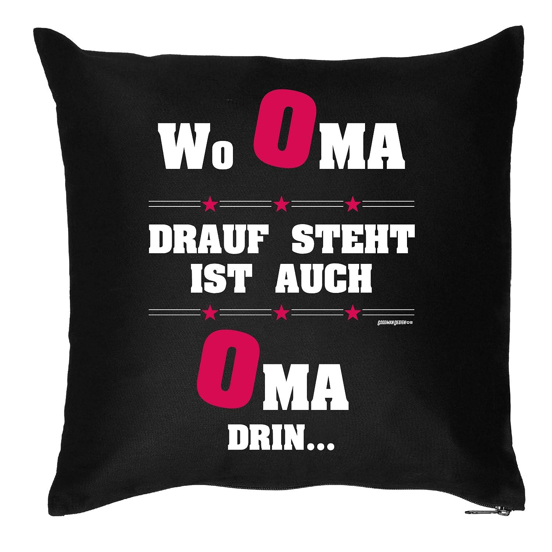 Top Geschenk für Oma / Sprüche Kissen : Wo Oma drauf steht .. – Kissen mit Füllung online bestellen