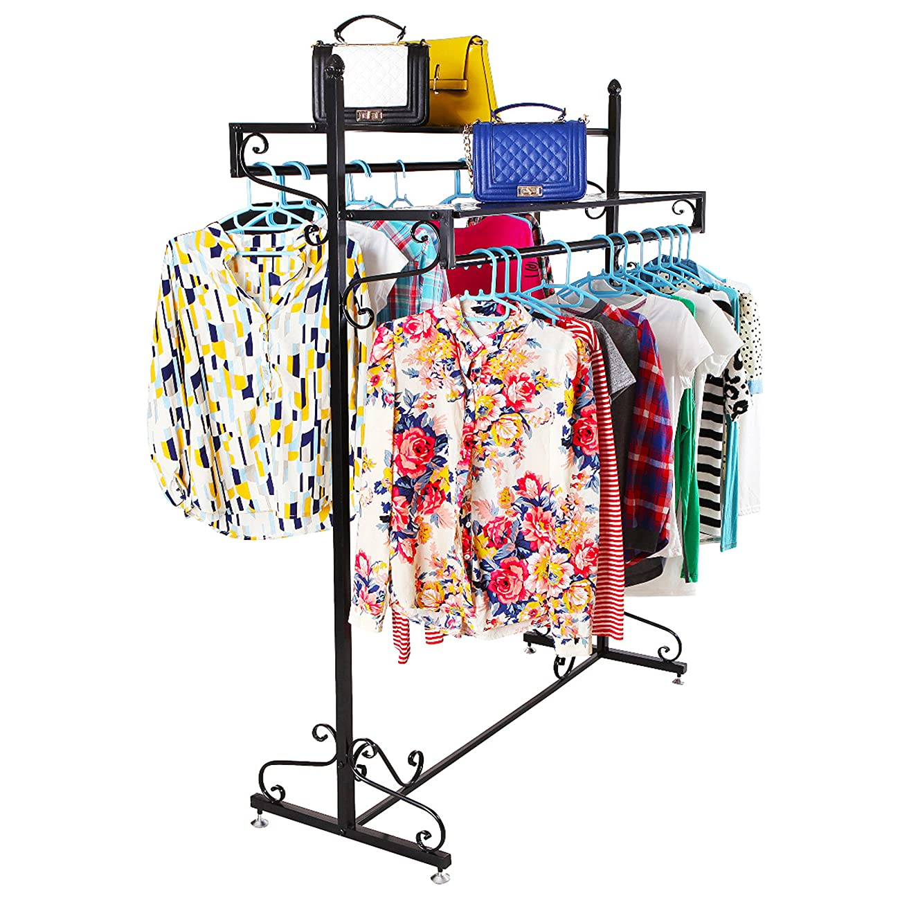 Victorian Style Boutique Clothes / Garment Display Rack w/ Dual Hangrail & Cargo Shelves, Black - MyGift® 1
