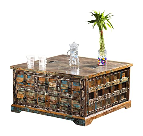 The Wood Times Couchtisch Tisch Massiv Vintage Look Delhi Holz FSC Recycled, LxBxH 90x90x47 cm