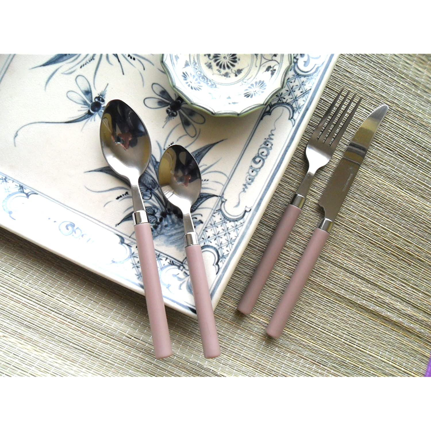 Flatware Service for 4 Stainless Steel with Trendy Linen Colored Handles for Spring