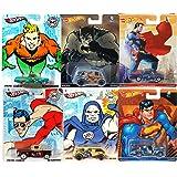 Superman VS Batman DC Comics Hot Wheels Pop Culture Set Batman Quick D-Livery Van, Aquaman Ford Ranchero, Superman Custom Chevy, Darkseid Van, Superman El Camino, Plasticman Pickup Truck hero Cars (Color: yellow, silver, red, purple, blue, white, aqua, black)