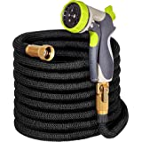 Hospaip 50ft Garden Hose - ALL NEW Expandable Water Hose with Double Latex Core, 3/4 Solid Brass Fittings, Extra Strength Fabric - Flexible Expanding Hose with Metal 8 Function Spray Nozzle by