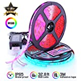 LED Strip Lights 32.8ft RGB IP67 Waterproof with Extra Adhesive 3M Tape - Professional Changing Multi-Color LED Light Strips with Remote - Decoration Lighting for Room, Bedroom, Home, Kitchen, Xmas (Tamaño: 32.8ft)