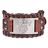 Lemegeton Viking Wolf Fenrir Braided Leather Bracelets for Men, Pagan Celtic Knot Vintage Jewelry (brown and antique bronze) (Color: brown,bronze)