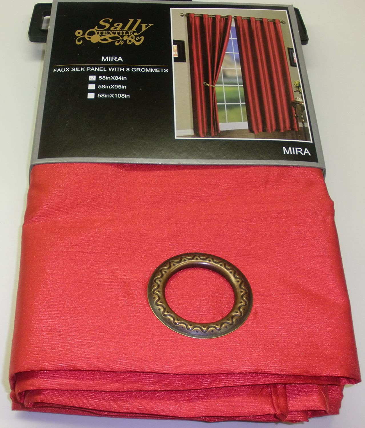 Qutain Linen One Mira Solid Red Faux Silk Grommet Top Curtain Panel 58