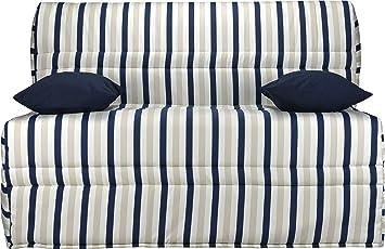 Divano Bz tessuto motivi righe blu materasso 140x 200sofaconfort schiuma