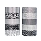 Washi Tape   Set of 10   Japanese Masking Tape   Custom Pattern Rolls   Black & White Geometric