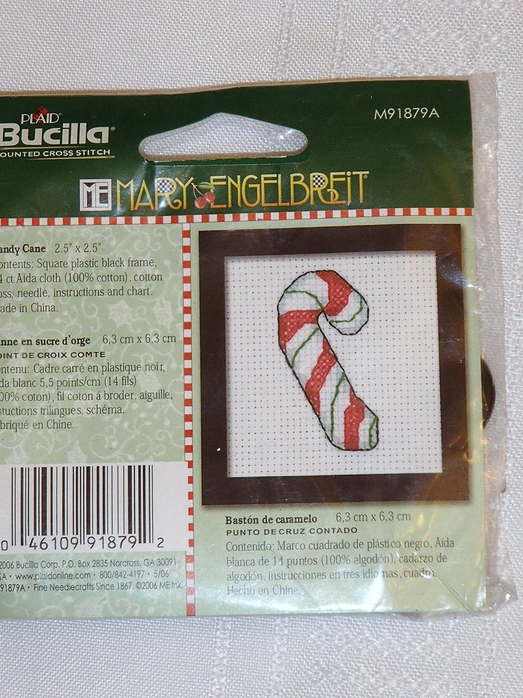 mary engelbreit candy cane cross stitch plaid bucilla with frame ornament