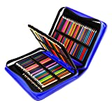 YOUSHARES 180 Slots PU Leather Colored Pencil Case - Large Capacity Carrying Case for Prismacolor Watercolor Pencils, Crayola Colored Pencils, Marco Pens, Gel Pens(Blue) (Color: Blue)