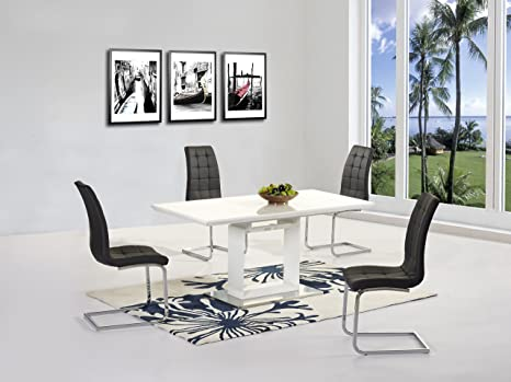 Space High Gloss Extending Dining Table - Contemporary Design - Stylish - Interior Decor - Dine in Style - Italian Dining - Table and 6 Black Arora Chairs