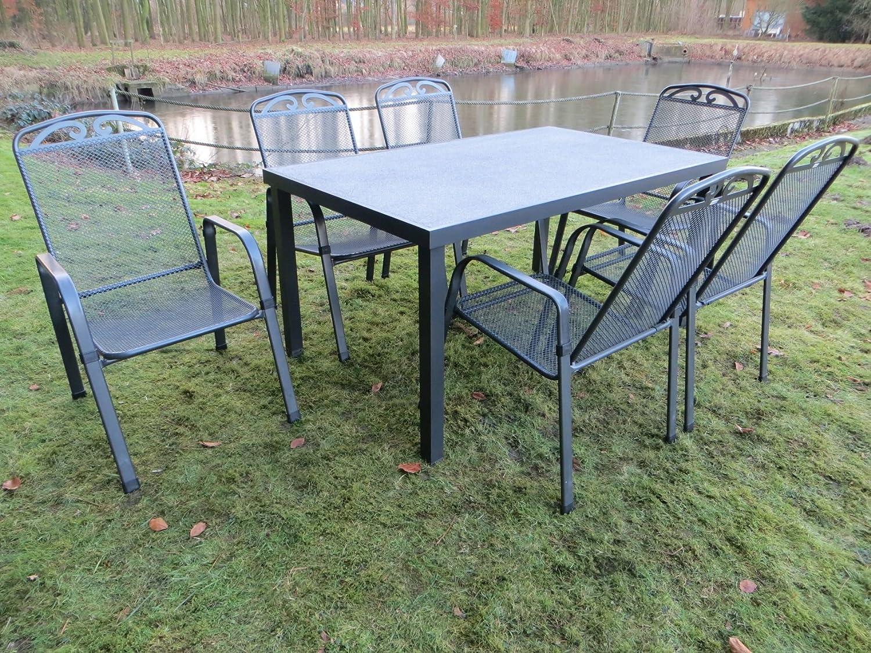 7-teilige Luxus Streckmetall Aluminium Spraystone Gartenmöbelgruppe