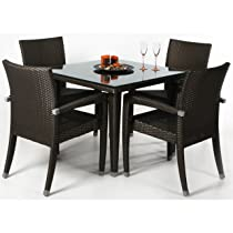 Image of Rattan Wicker Deep Seating Patio Table Set