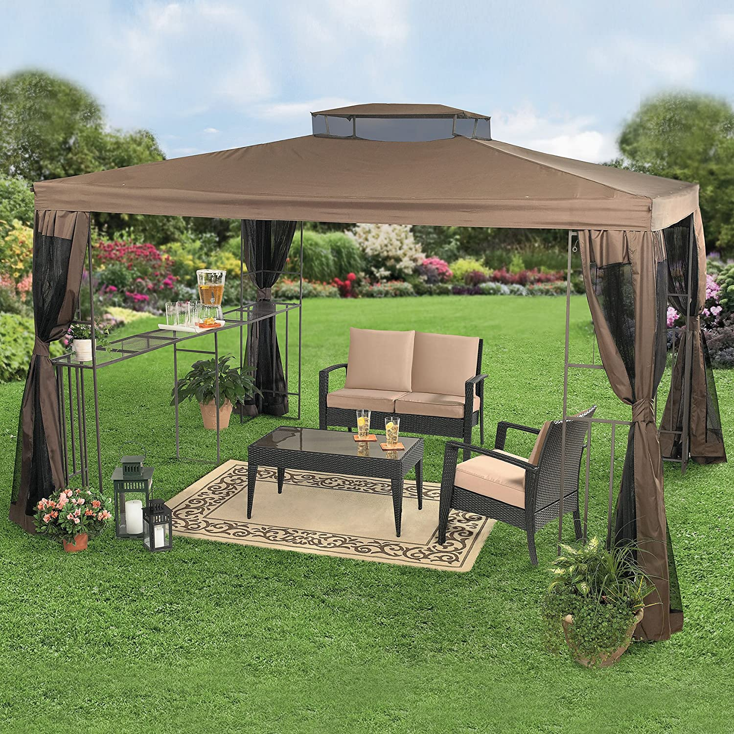 Gazebo Canopy Ideas : Home and Garden Design Ideas Beautiful Rectangular Gazebo With Bar