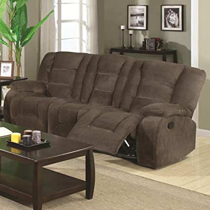 Coaster Home Furnishings Casual Motion Sofa, Brown Siege
