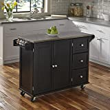 Home Styles  Liberty Kitchen Cart with Stainless Steel Top, Black (Color: Black)