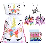 Unicorn Gifts for Girls - Unicorn Drawstring Backpack/Makeup Bag/Bracelet/Inspirational Necklace/Hair Ties (White Flower #2) (Color: White Flower #2, Tamaño: One_Size)