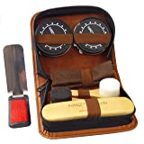 Deluxe Shoe Care Kit - Genuine 100% Horsehair Brush, 2 Durable Applicator Sponges, 2 Full-Size Tins of Black & Neutral Shoe Polish(45g), Shoehorn/Suit Brush, Buffing/Shining Cloth, PU Leather Case (Color: Deluxe, Tamaño: Travel)