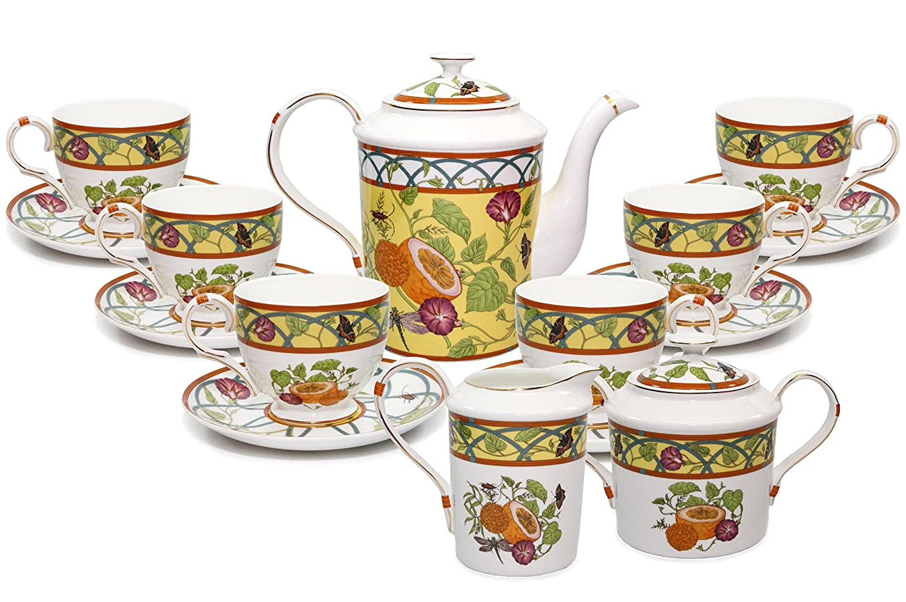 Royal Porcelain 15-Piece Antique Citrus Yellow Vintage Dining Tea Cup Set, Service for 6, Handmade & Hand-Painted, HQ Bone China 0