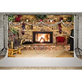 Kate 10x6.5ft Fireplace Photography Backdrops Christmas Decoration Gift Backgrounds for Shooting (Color: 9514, Tamaño: 10x6.5ft)