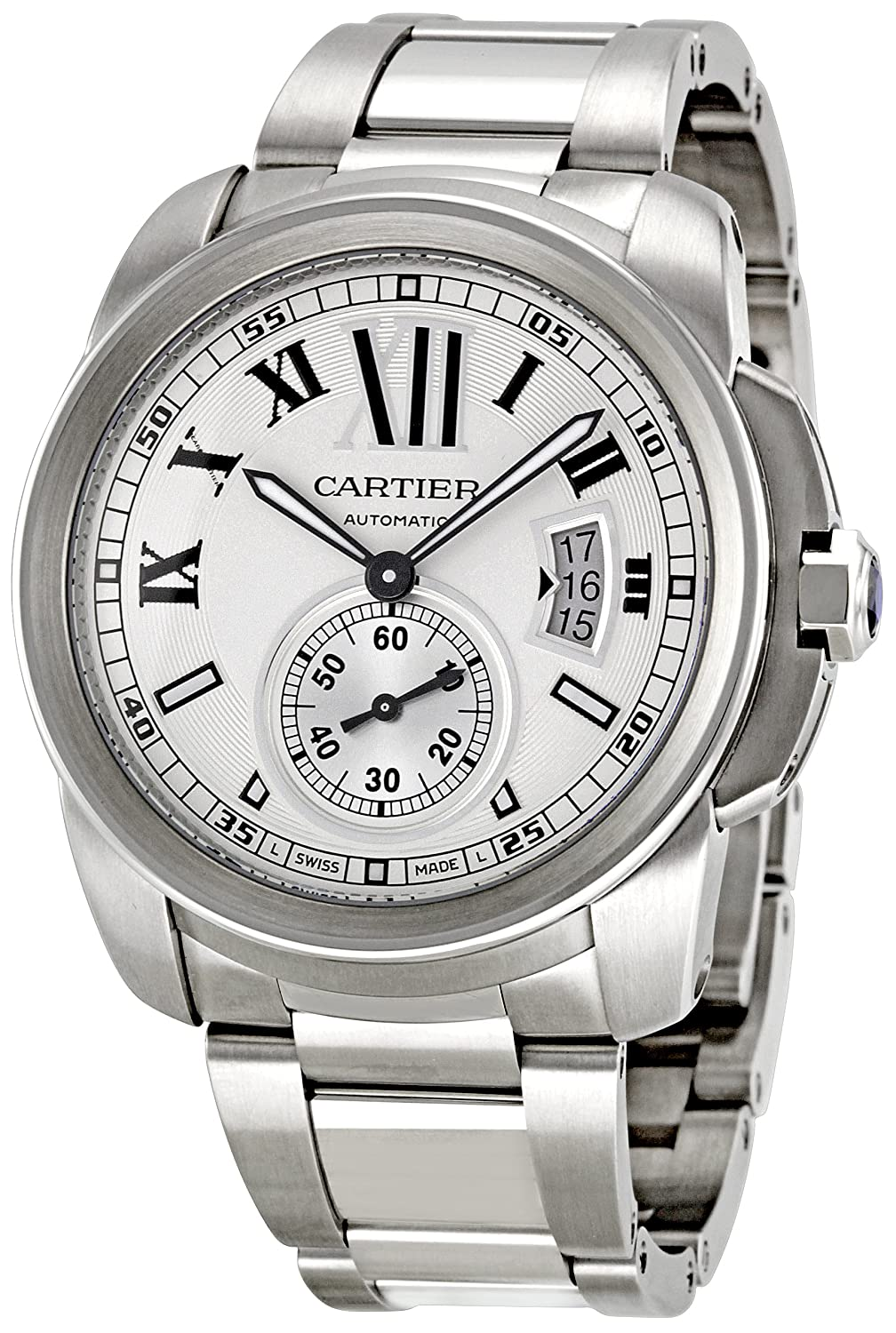 Calibre de Cartier Silver Opaline Dial Watch