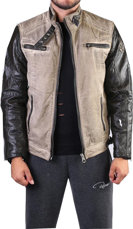 Jacke mit Lederärmel R-8811 günstig kaufen