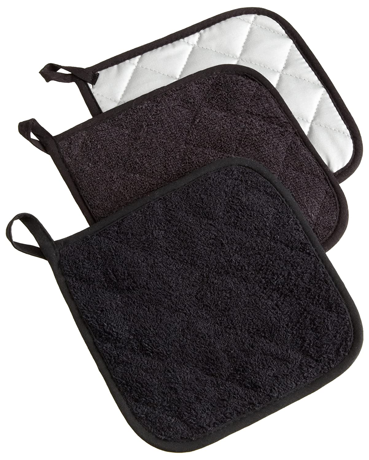 "DII 100% Cotton, Machine Washable, Heat Resistant, Quilted Terry, Potholder for Cooking and Baking, 7 x 7"", Set of 3, Black"