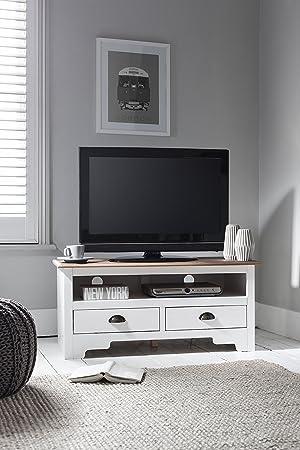 Mueble para TV en madera de pino y blanco Canterbury mueble de TV Noa y Nani