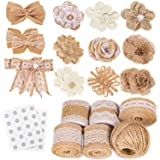 Whaline 30PCS Burlap Flowers Set, Include 5 Lace Burlap Ribbon Rolls, 24 Handmade Burlap Flowers and Bowknots, 1 Twine Ribbon and Glue Dots for Wedding Party Decor Home Embellishment DIY Crafts (Color: Style 4)