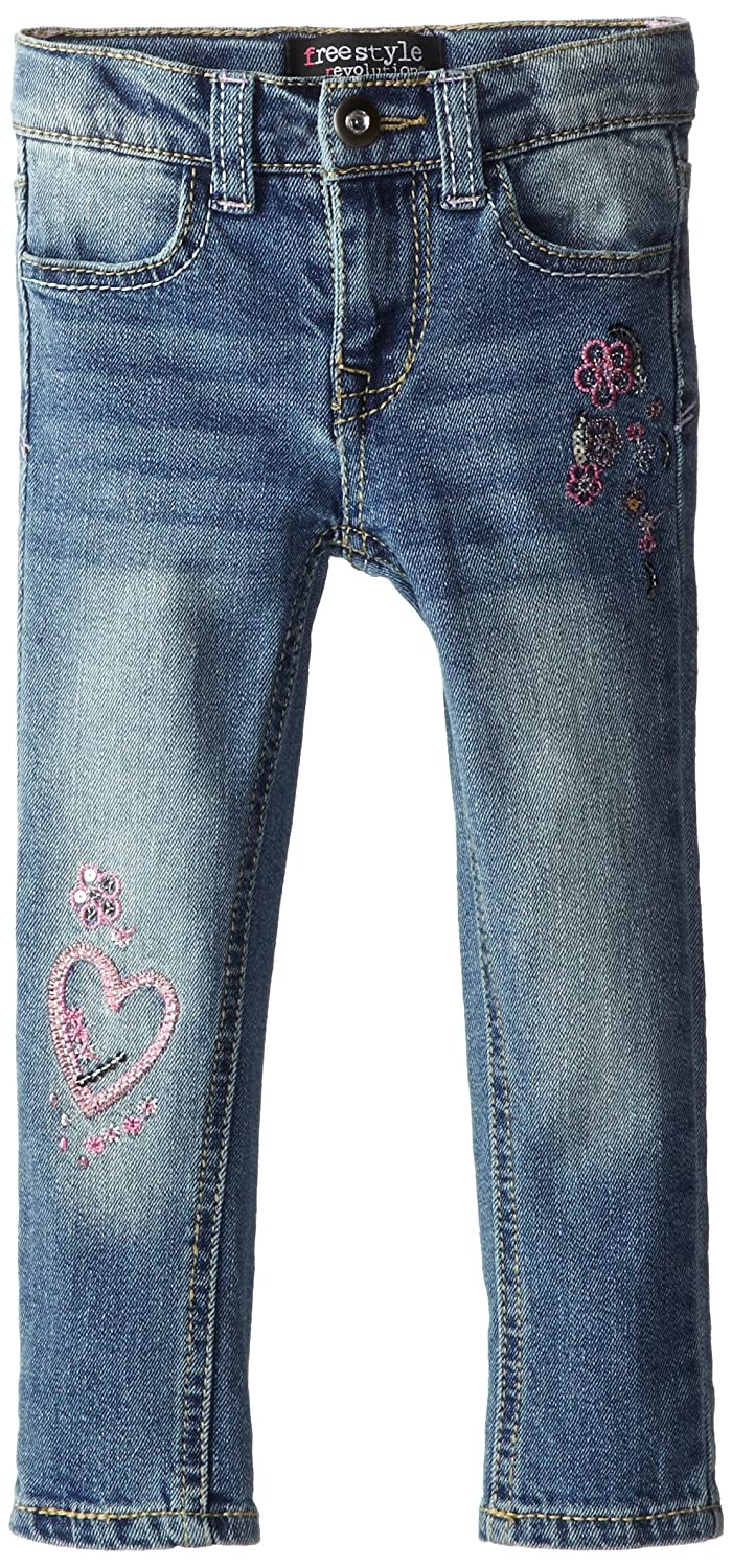 Freestyle Revolution Little Girls' Heart Patch Skinny freestyle revolution new red blue women s size large l junior ikat print shorts