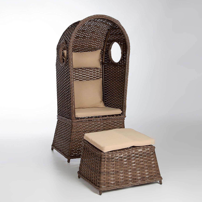 Strandkorb NOSTALGIE 1-Sitzer Korb mit Fußbank und Auflagen, LILIMO ®