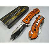Tac Force Assisted Opening Rescue Tactical Pocket Folding Stainless Steel Blade Knife Outdoor Survival Camping Hunting - Orange Camo (Color: Green)