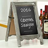 Small Wood A-Frame Double-Sided Chalkboard Sign, Brown Table Top Rustic Message Board