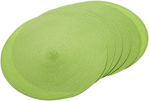 Apple Green Round Braided Set of 6 Placemats by DII