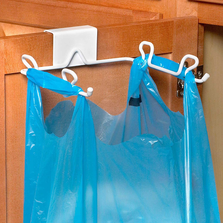 spectrum designs 65400 over the cabinet door trash bag holder white new free ebay. Black Bedroom Furniture Sets. Home Design Ideas