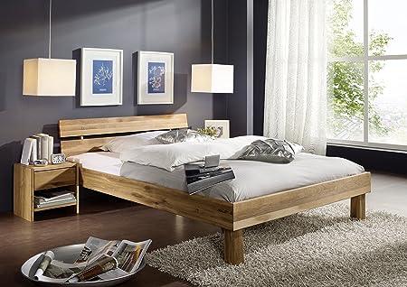 Bett Doppelbett 'Lewis' 200x200cm Wildeiche massiv Holz geölt