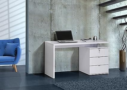 Modell 2016 Computertisch Schreibtisch MAJA in Icy Weiß / Weiß Hochglanz 140x75x60cm